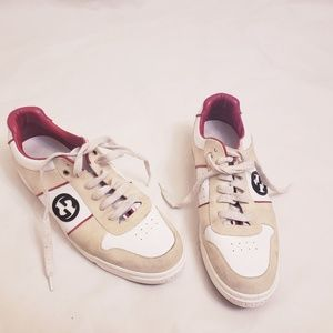 Gucci White Lace-Up Sneakers, Sz 13